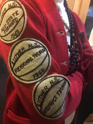 Patches on Elsie Estes' LHS letter sweater
