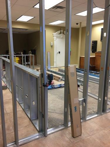 Transforming the bank to town hall by Dana Holman, contractor.